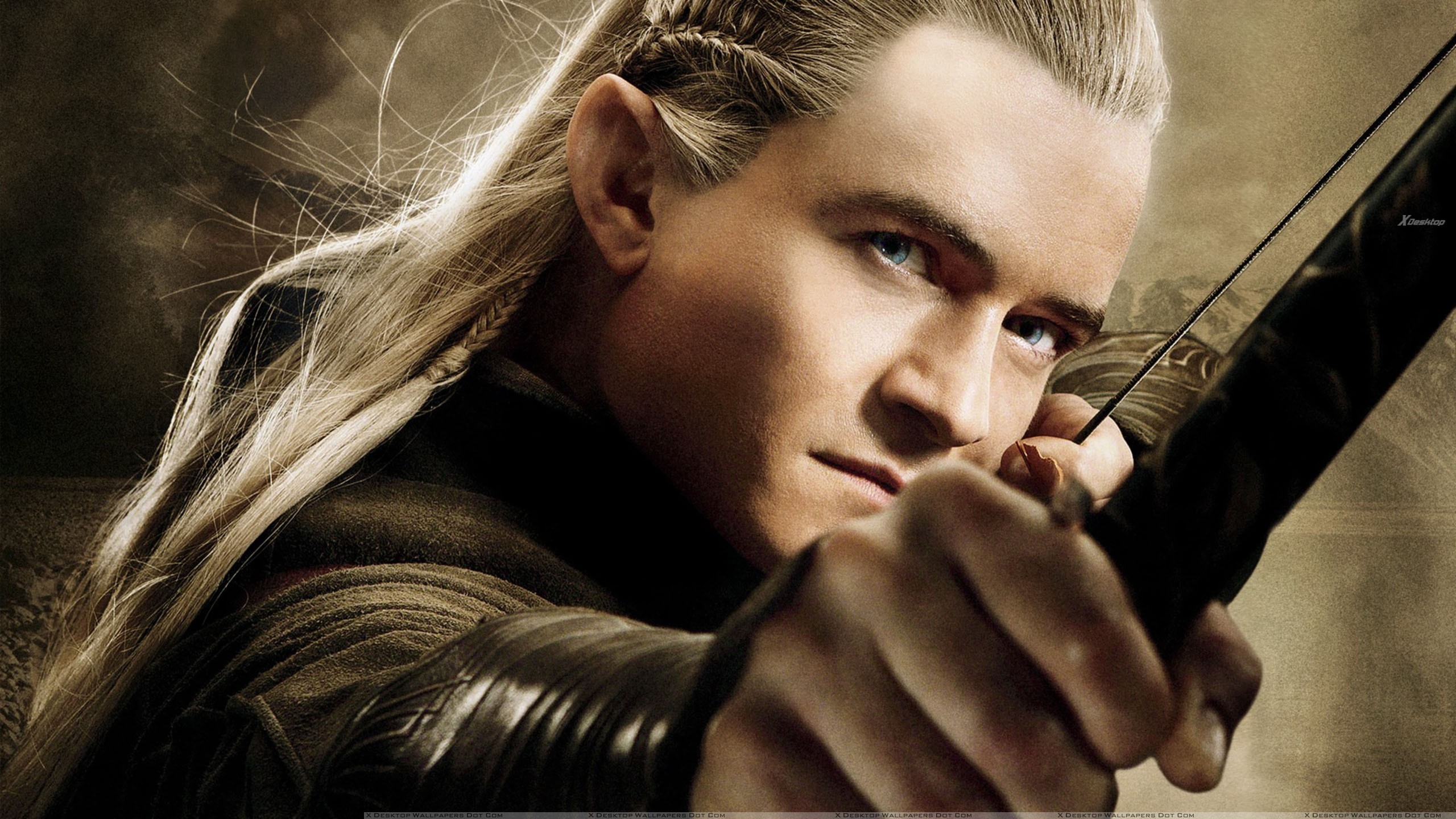orlando bloom with bow in the hobbit – the desolation of smaug wallpaper