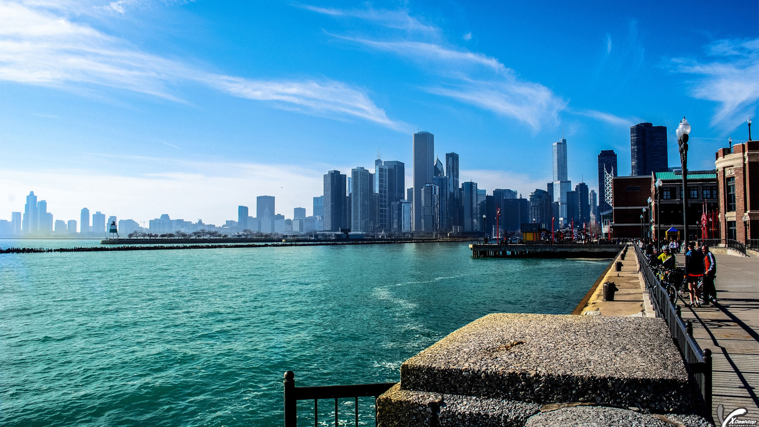 a beautiful view of chicago and michigan lake wallpaper