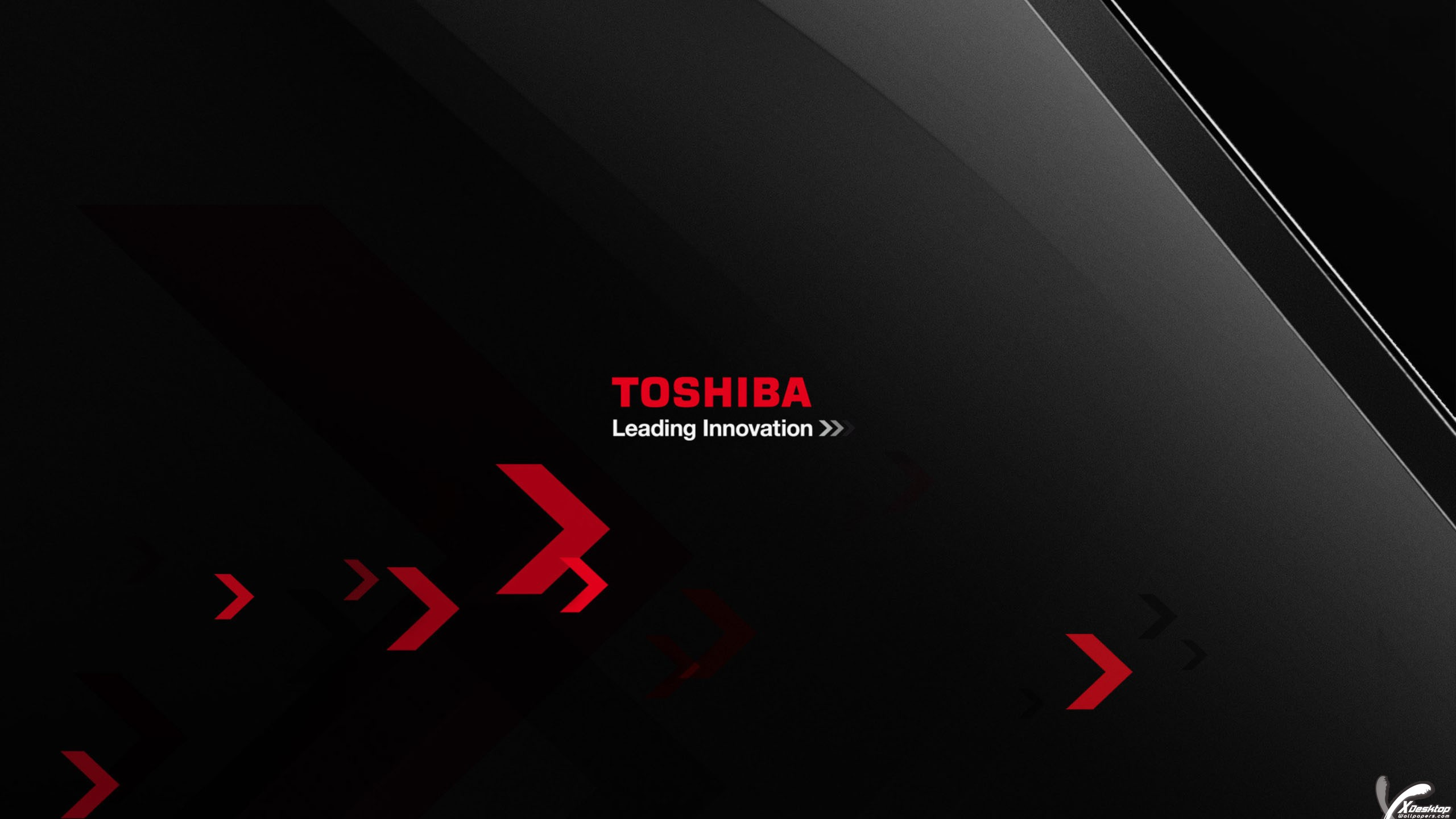 Logo on black backgroung of toshiba leading innovation Innovation windows