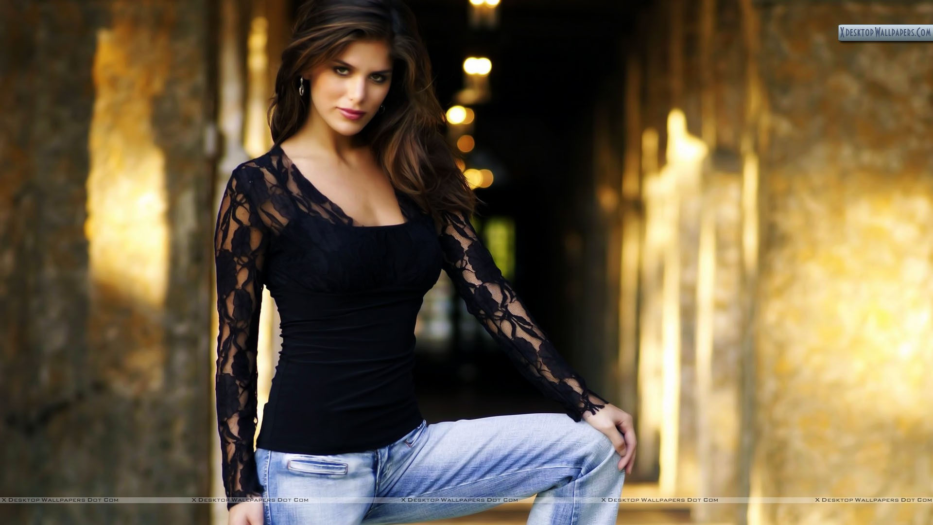 Anahi Hot anahi gonzales in black top and blue jeans photoshoot wallpaper
