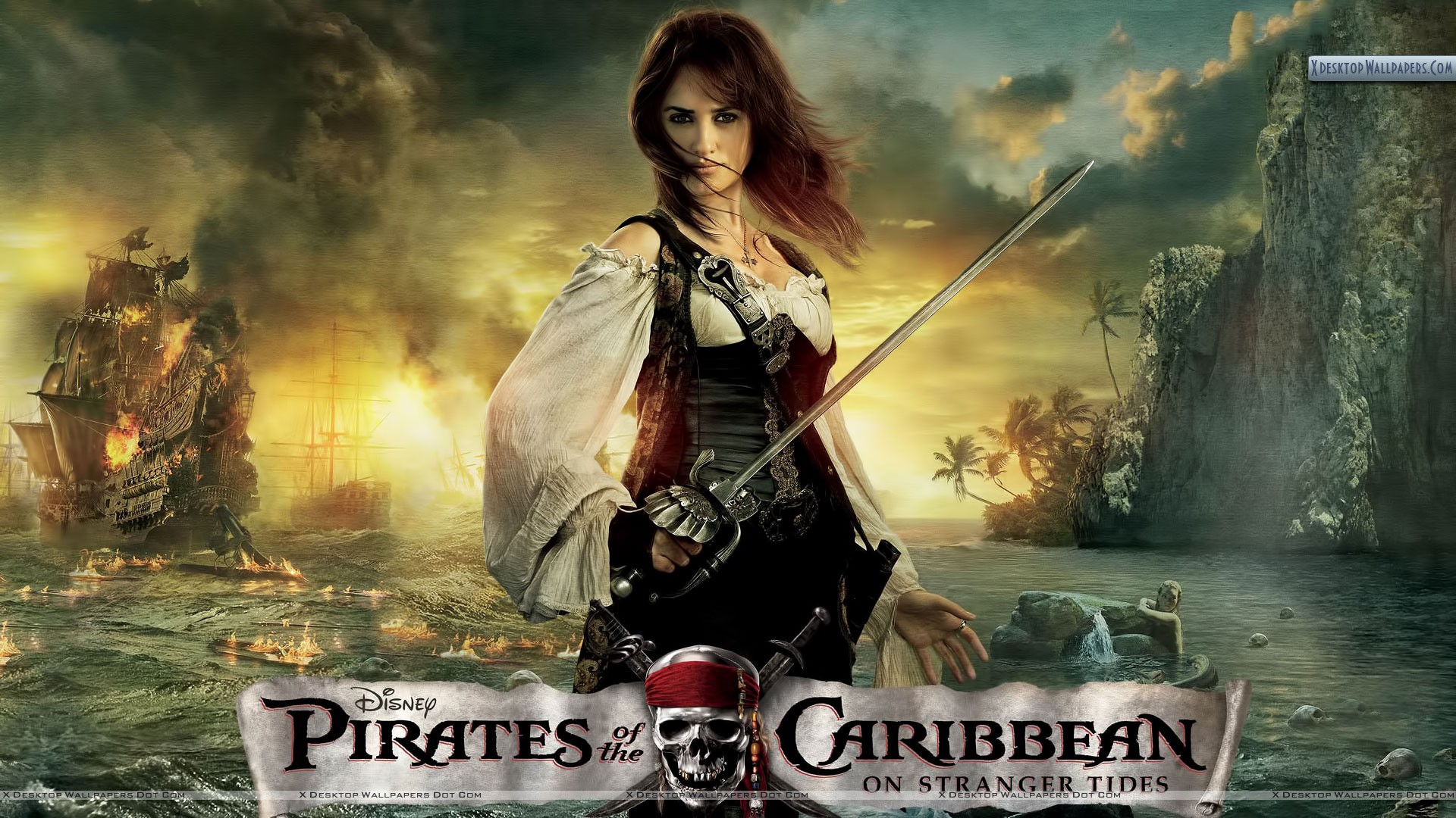 Angelica With Sword In Pirates Of The Caribbean 4 Wallpaper
